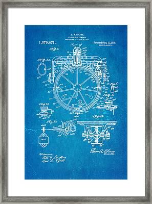 Sperry Gyroscopic Compass Patent Art 1918 Blueprint Framed Print by Ian Monk