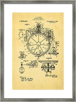 Sperry Gyroscopic Compass Patent Art 1918 Framed Print by Ian Monk