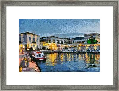 Spetses Town During Dusk Time Framed Print