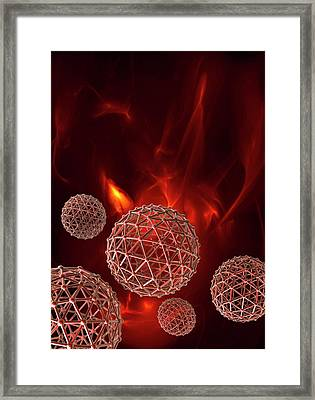 Spheres On Red Background Framed Print by Victor Habbick Visions