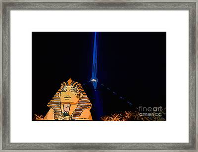 Sphinx And Luxor Hotel Beam Las Vegas - Pop Art Style Framed Print by Ian Monk