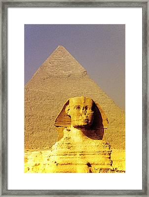 Sphinx And Pyramid Framed Print