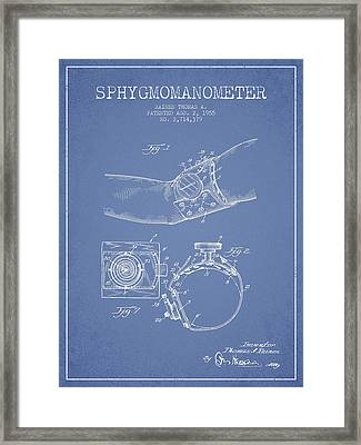 Sphygmomanometer Patent Drawing From 1955 - Light Blue Framed Print by Aged Pixel