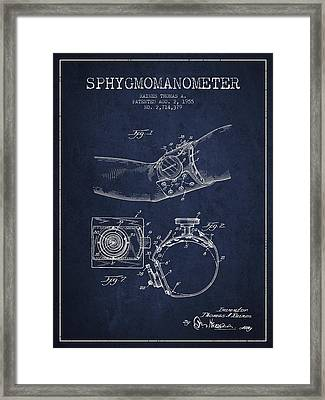 Sphygmomanometer Patent Drawing From 1955 - Navy Blue Framed Print by Aged Pixel