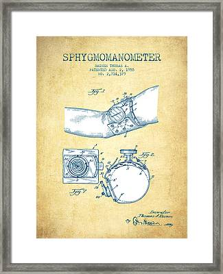 Sphygmomanometer Patent Drawing From 1955 - Vintage Paper Framed Print