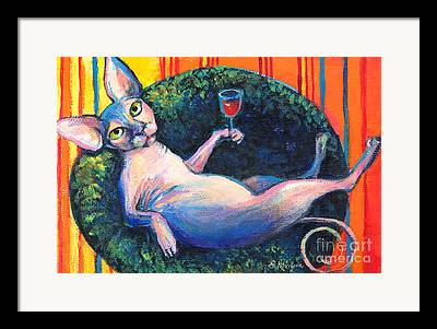 Sphynx Cat Portrait Framed Prints