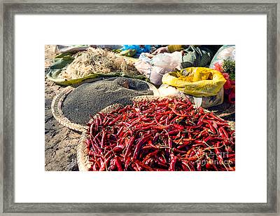 Spices At Local Market - Myanmar Framed Print by Matteo Colombo