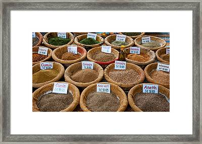 Spices For Sale In A Weekly Market Framed Print by Panoramic Images