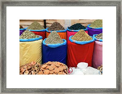 Spices For Sale, Souk In The Medina Framed Print by Nico Tondini