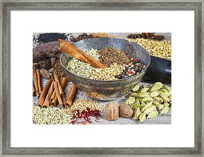 Spices On A Rustic Board Framed Print