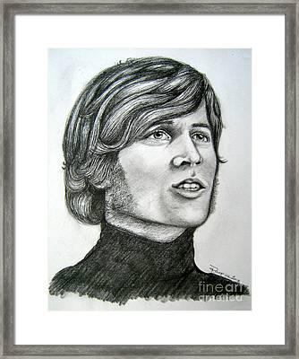 Framed Print featuring the drawing  A Young Barry Gibb by Patrice Torrillo