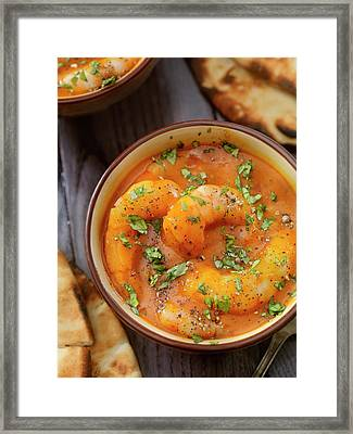 Spicy Red Curry Soup With Shrimp And Framed Print by Lauripatterson