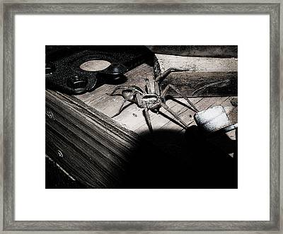 Framed Print featuring the digital art Spider B And W by Robert Rhoads