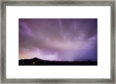 Spider Lightning Above Haystack Boulder Colorado Framed Print