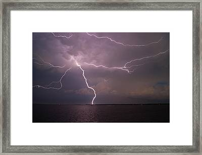 Spider Lightning Over Charleston Harbor Framed Print