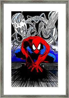 Spider-man Enhanced Editon Framed Print by Justin Moore