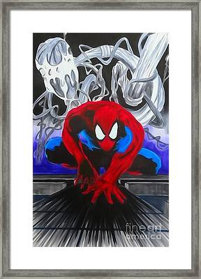 Spider-man Enhanced Watercolor Framed Print by Justin Moore