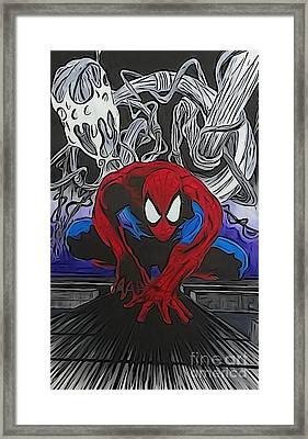 Spider-man Illustration Framed Print by Justin Moore