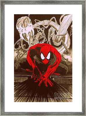 Spider-man Red Posterized Edition Framed Print by Justin Moore