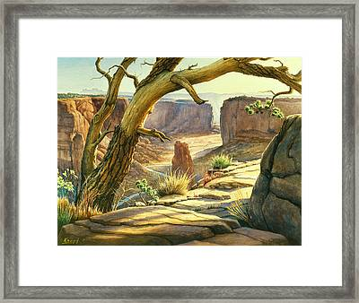 Spider Rock Overlook - Canyon Dechelly Framed Print by Paul Krapf