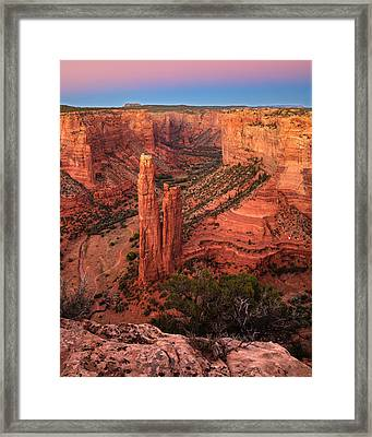 Framed Print featuring the photograph Spider Rock Sunset by Alan Vance Ley