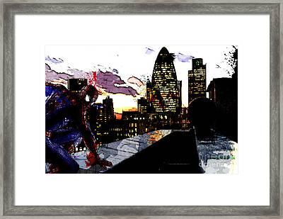 Spiderman In London Framed Print