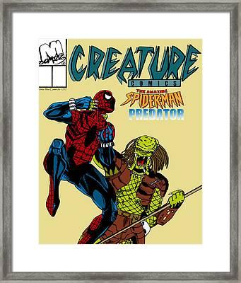 Spiderman Vs Predator Framed Print