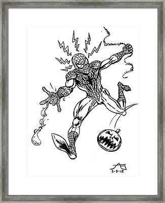 Spidey Dodges A Pumpkin Bomb Framed Print