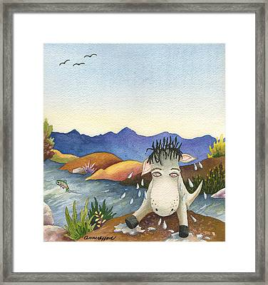 Spike Isn't Much Of A Swimmer Framed Print by Anne Gifford
