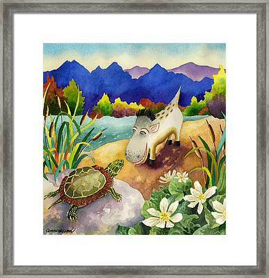 Spike The Dhog Comes Nose To Nose With A Painted Turtle Framed Print by Anne Gifford