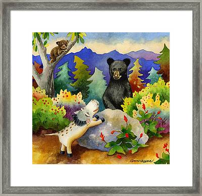 Spike The Dhog Encounters A Mother Bear In The Forest Framed Print by Anne Gifford