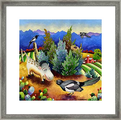 Spike The Dhog Meets A Magpie Framed Print by Anne Gifford