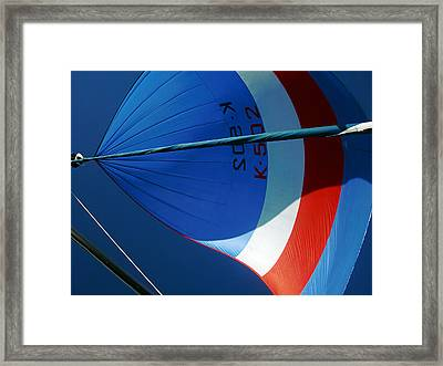 Spinnaker Flying Framed Print by Tony Reddington