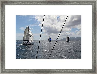 Spinnakers In The Seychelles Framed Print
