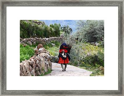 Spinning Wool On The Road Framed Print by James Brunker