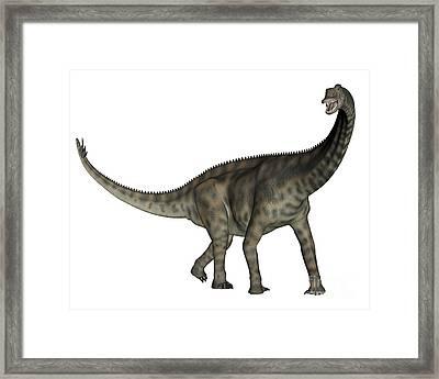 Spinophorosaurus Dinosaur Framed Print by Elena Duvernay