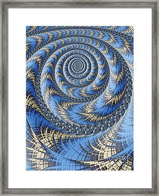Spiral In Blue Framed Print