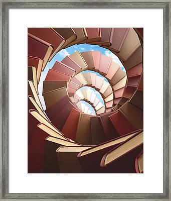 Spiral Of Books Framed Print by Ktsdesign
