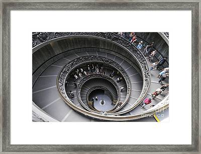 Spiral Staircase By Giuseppe Momo At The Vatican Museum. Rome. Italy Framed Print by Bernard Jaubert