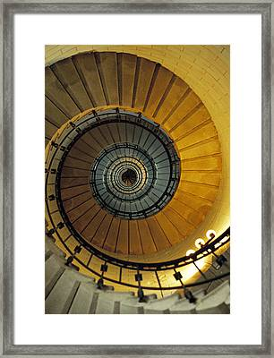 Spiral Staircase In Lighthouse France Framed Print by David Davies