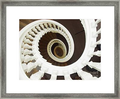 Spiral Stairs From Above Framed Print