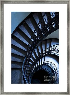 Spiral Stairs In Blue Framed Print by Jaroslaw Blaminsky