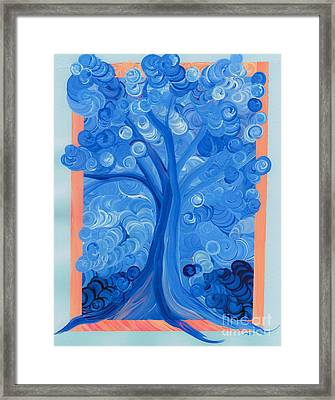 Spiral Tree Winter Blue Framed Print by First Star Art