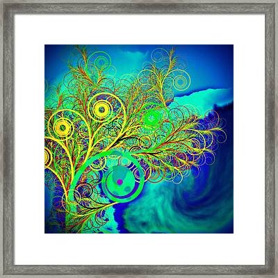 Spiral Tree With Blue Background Framed Print by GuoJun Pan