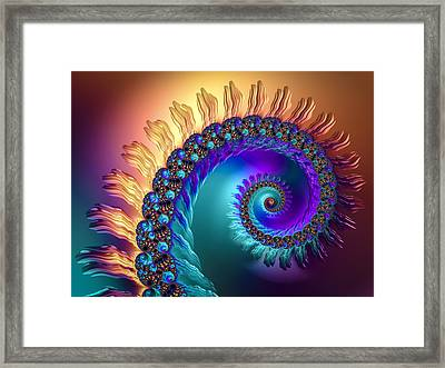 Spiral With Beautiful Orange Purple Turquoise Colors Framed Print