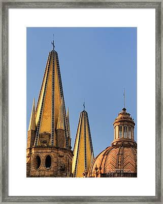 Spires And Dome - Cathedral Of Guadalajara Mexico Framed Print by David Perry Lawrence