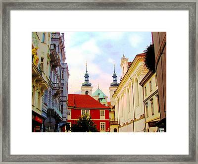 Spires Of St. Nicholas Cathedral In Old Town Prague Framed Print