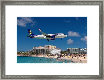 Spirit Airlines Low Approach To St. Maarten Framed Print