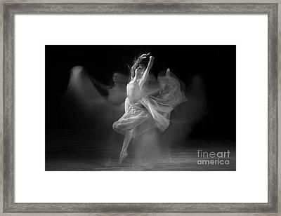 Spirit Dance In Black And White Framed Print by Cindy Singleton