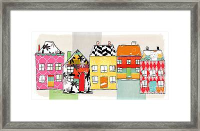 Spirit House Row Framed Print by Linda Woods